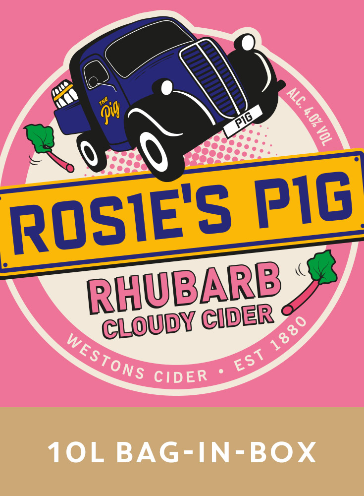 Westons Rosie's Pig  Rhubarb 10Ltr BIB    4.0%